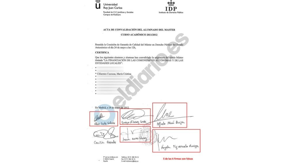 Acta de convalidación de asignaturas de Cristina Cifuentes