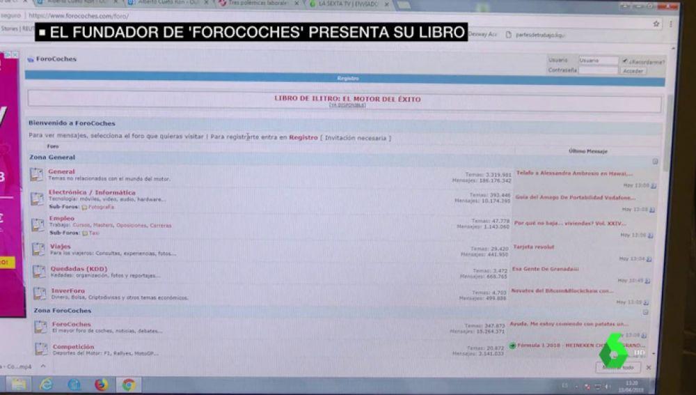 Pantallazo de la página web de Forocoches