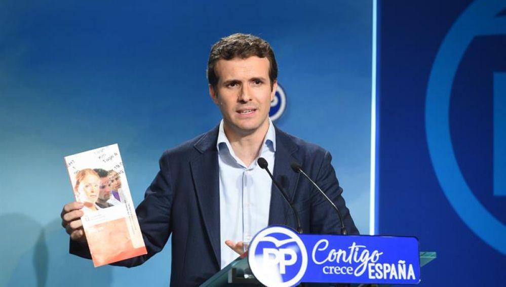 Pablo Casado, en rueda de prensa