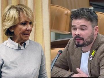 Esperanza Aguirre y Gabriel Rufián en el Congreso