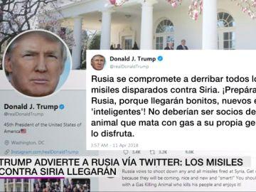 """Trump advierte a Rusia vía Twitter de que se prepare para un ataque con misiles en Siria: """"Serán bonitos, nuevos e inteligentes"""""""