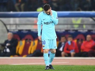 Leo Messi, cabizbajo en El Olímpico