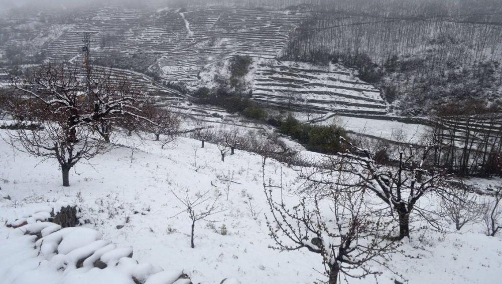 Vista del Valle del Jerte cacereño cubierto de nieve