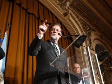 Mariano Rajoy en un acto en Argentina