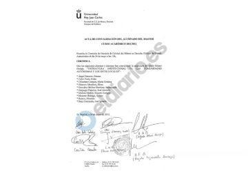 Acta de convalidación de Estructura Institucional de las CCAA