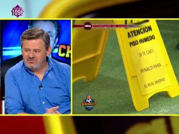 La reacción de Miki Nadal ante el irónico cartel de Cristóbal Soria sobre el Real Madrid