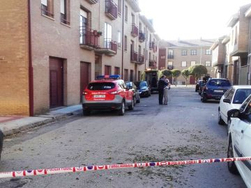 La Policía Foral en el lugar del presunto homicidio