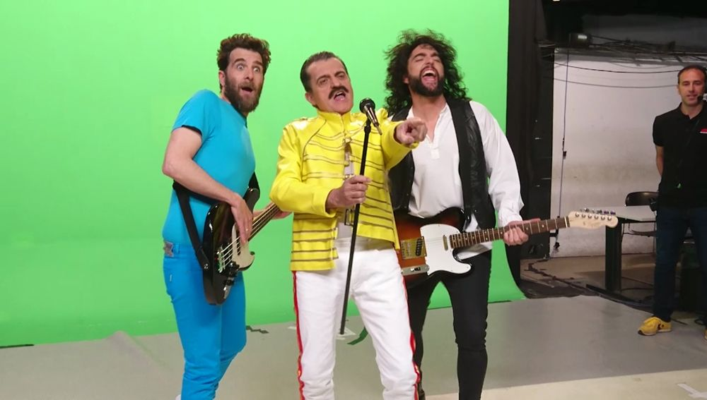 Gonzo, El Gran Wyoming y Dani Mateo en el making of 'Queens, El Musical' de El Intermedio