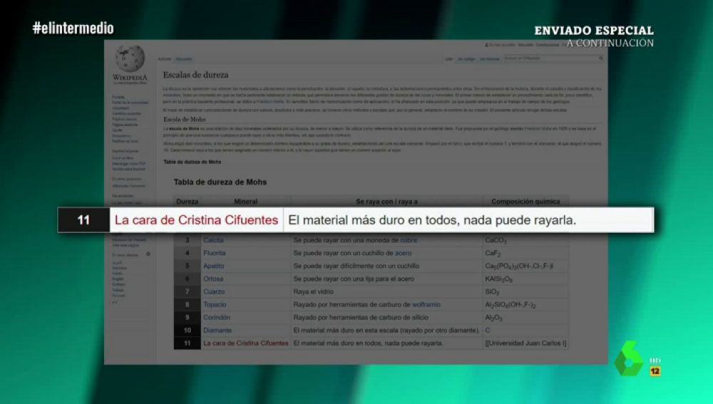 La cara de Cristina Cifuentes en la escala de dureza de la Wikipedia