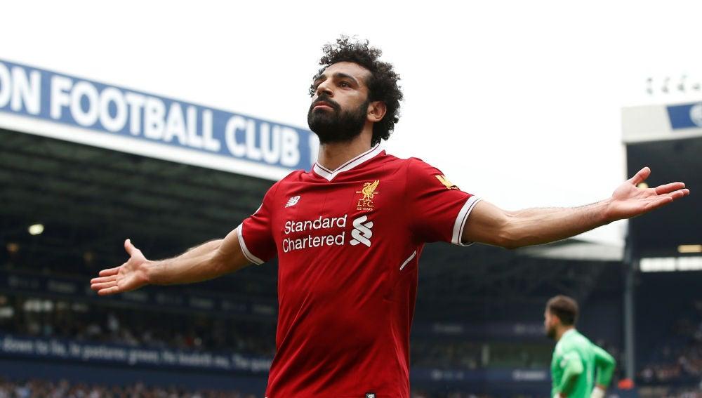 Salah durante el partido con el Liverpool
