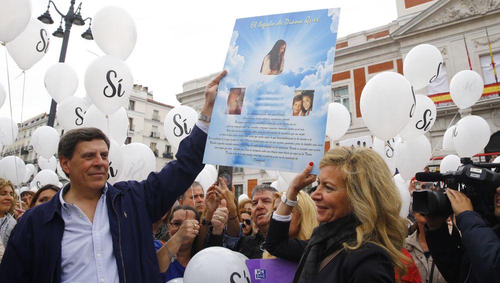 Juan Carlos Quer y Diana López Pinel, padres de Diana Quer, en la manifestación