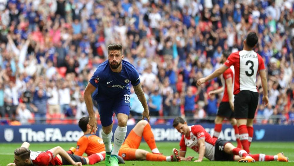Giroud celebra un gol ante el Southampton
