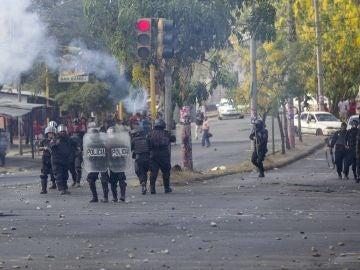 Varios agente antidisturbios en Nicaragua