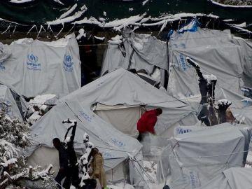 Imagen de archivo del campo de refugiados de Moria, en Lesbos
