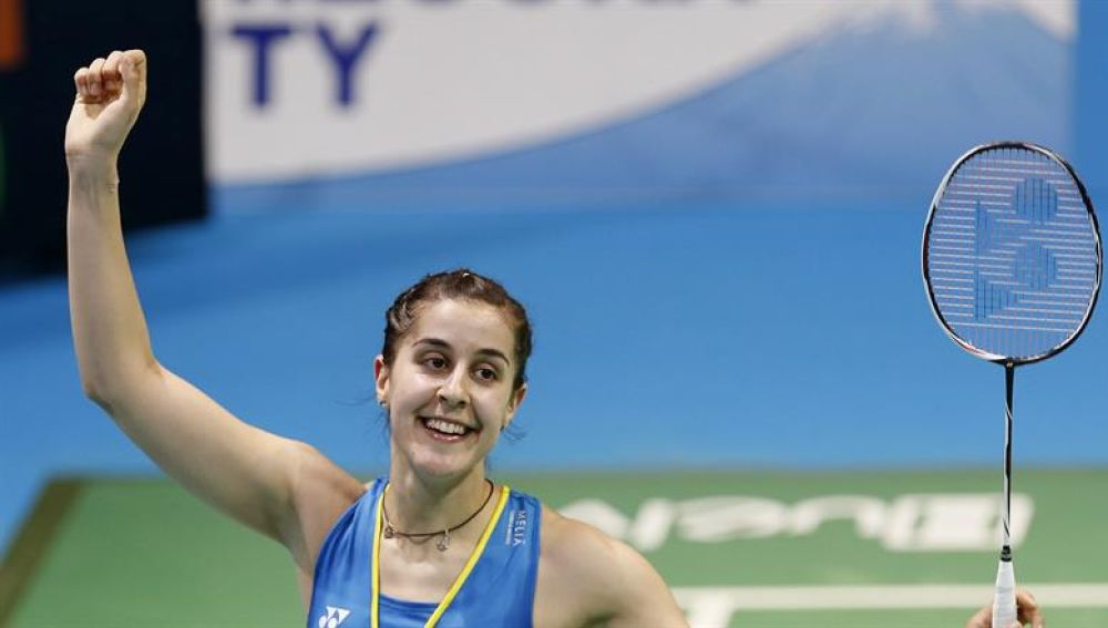 Carolina Marín celebra la victoria en un partido del campeonato de Europa