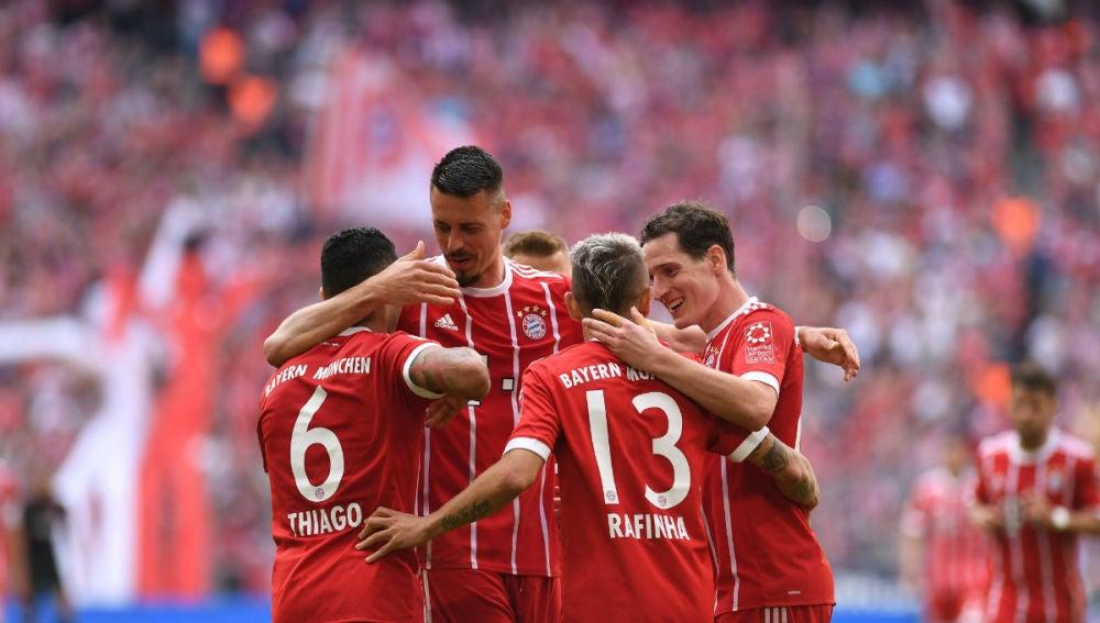 El Bayern celebra un gol
