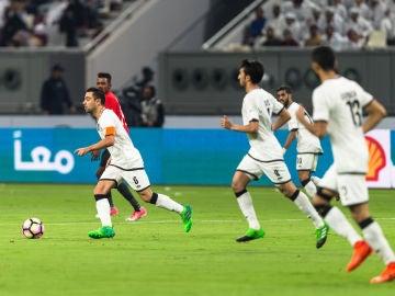 Xavi durante un partido en Catar