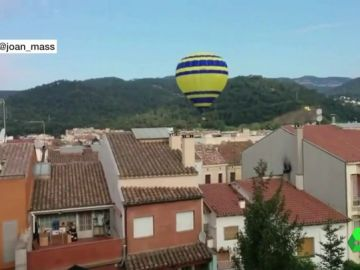 Globo aterrizando en Barcelona