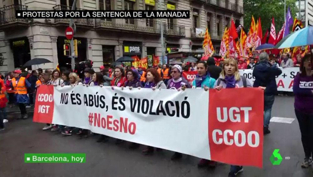 Pancarta en apoyo a la víctima de La Manada