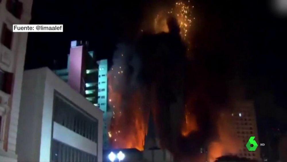 Incendio de la antigua sede de la policía de Sao Paulo