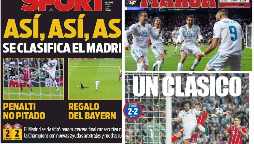 Portadas de la prensa con el pase del Real Madrid a la final de Kiev
