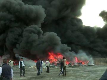 Incendio en una planta de reciclaje en Ciudad Juárez en México