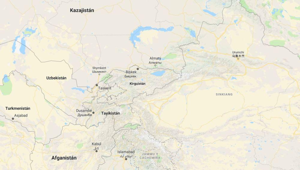 Kirguistán, País de Asia Central, situado en el mapa