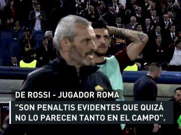 Monchi, Di Francesco, de Rossi... La Roma estalla por la mano no pitada ante el Liverpool