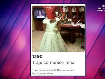"""El """"inquietante"""" anuncio de la venta de un vestido de comunión que oculta la cara de la niña con una bolsa en la cabeza"""