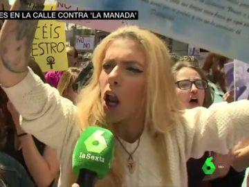 """La hermana de Diana Quer, en las protestas contra la sentencia de 'La Manada': """"La violó y la mató. Vengo a pelear para que se haga justicia"""""""
