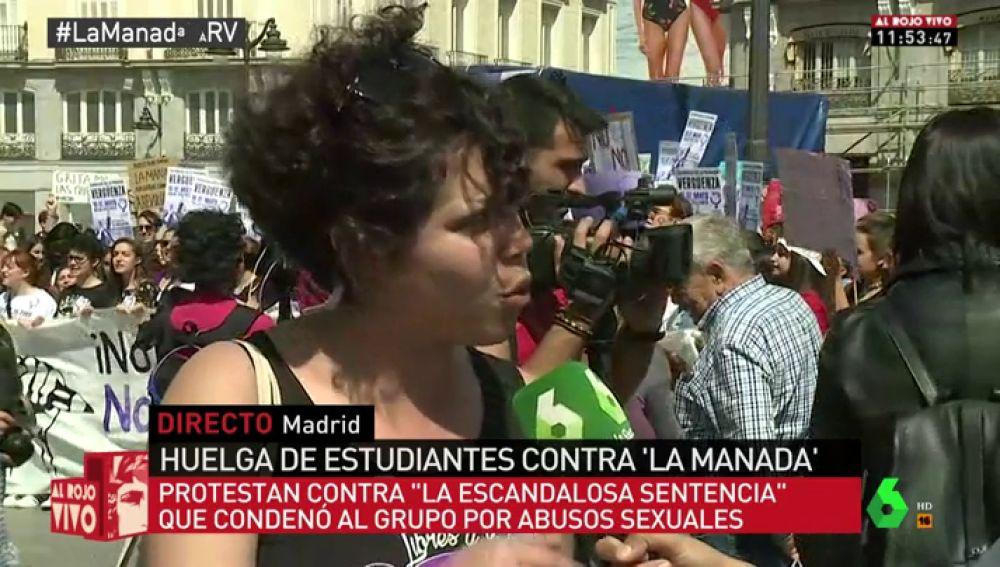 La portavoz del Sindicato de Estudiantes, Ana García