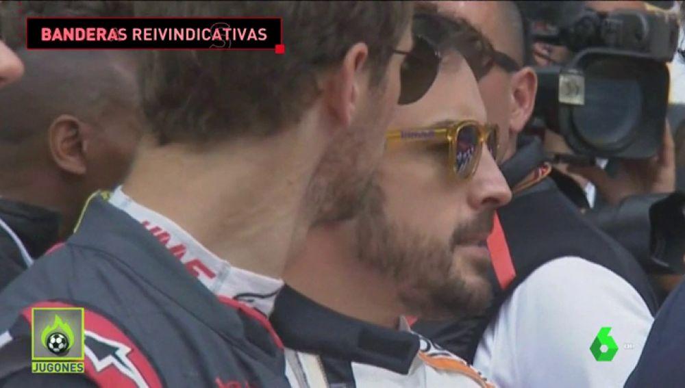 Alonso y Sainz, molestos con la excesiva duración de 'Els Segadors', decidieron exhibir la bandera de España