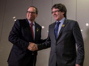 El president de la Generalitat, Quim Torra, y el expresident Carles