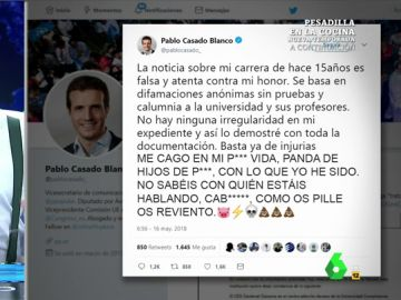 'Verdadero' tuit de Pablo Casado sobre su carrera