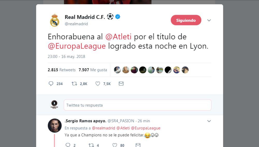 La felicitación del Madrid al Atlético