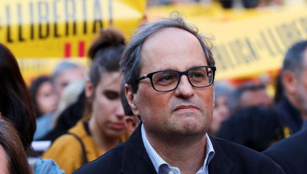 El presidente de la Generalitat, Quim Torra, durante una concentración.