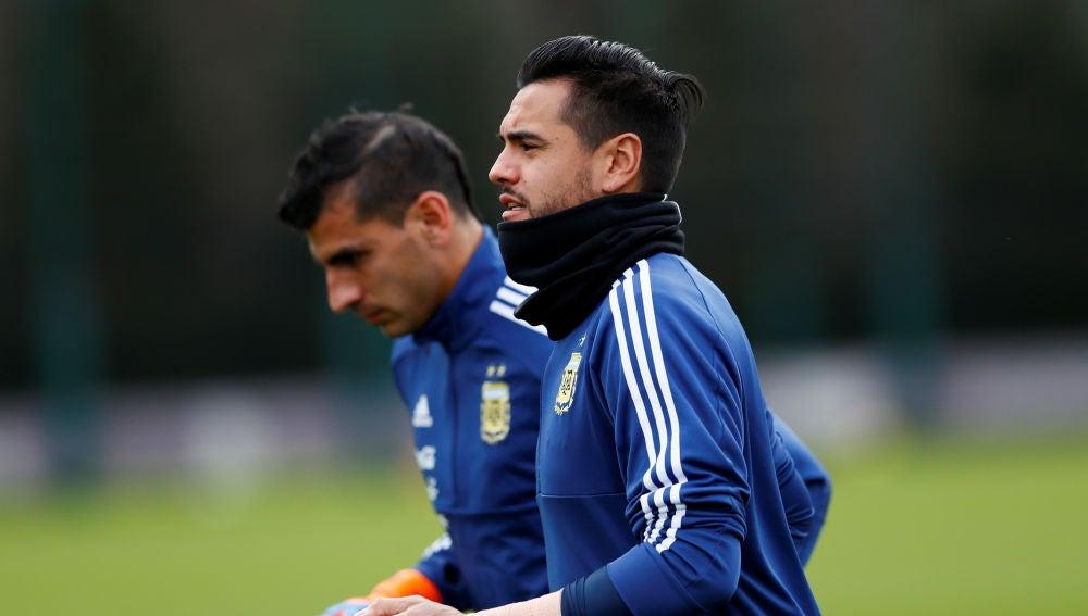 Sergio Romero, en un entrenamiento de la selección argentina