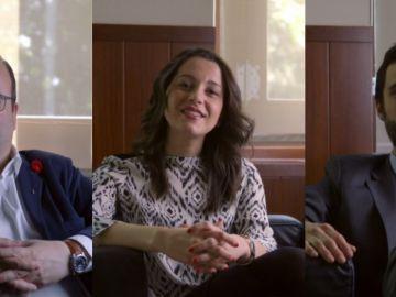 Miquel Iceta, Inés Arrimadas y Roger Torrent