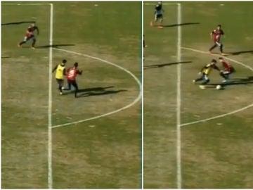 Messi regatea a Di María en un entrenamiento