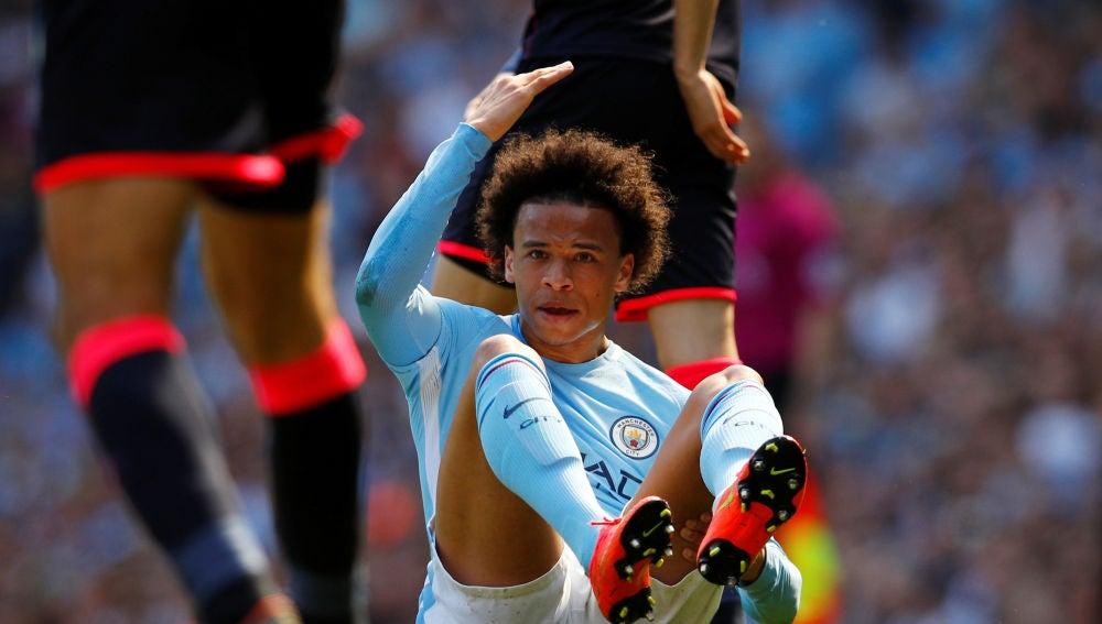 Sané, durante un partido con el Manchester City