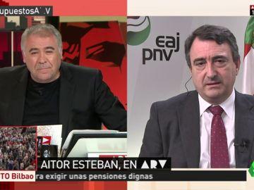"""<p>Aitor Esteban, sobre un Gobierno con 84 diputados: """"Ibarretxe ganó con gran diferencia y el PP apoyó al PSE""""</p>"""