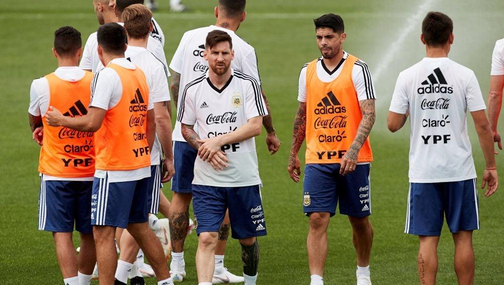 Leo Messi, en el entrenamiento de Argentina en Barcelona