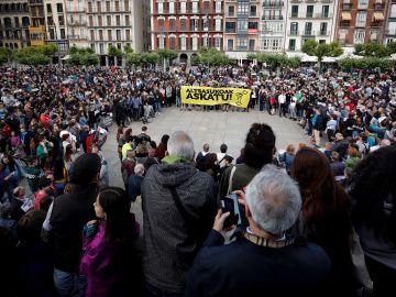 Manifestación en Pamplona por las detenciones e ingreso en prisión de cuatro de los condenados por la agresión a dos guardias civiles y sus parejas en Alsasua