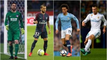 Oblak, Alves, Sané y Bale, ausentes en el Mundial de Rusia