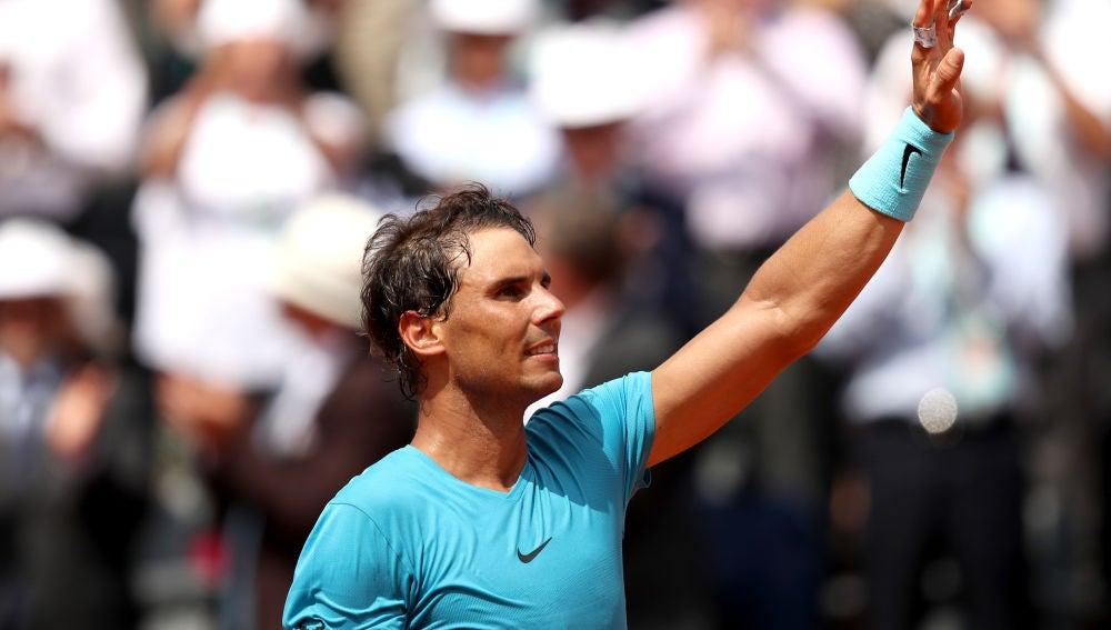 Nadal celebra una victoria en Roland Garros
