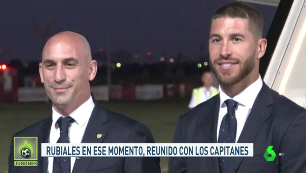 Piqué tuvo que separar a Sergio Ramos y a Luis Rubiales
