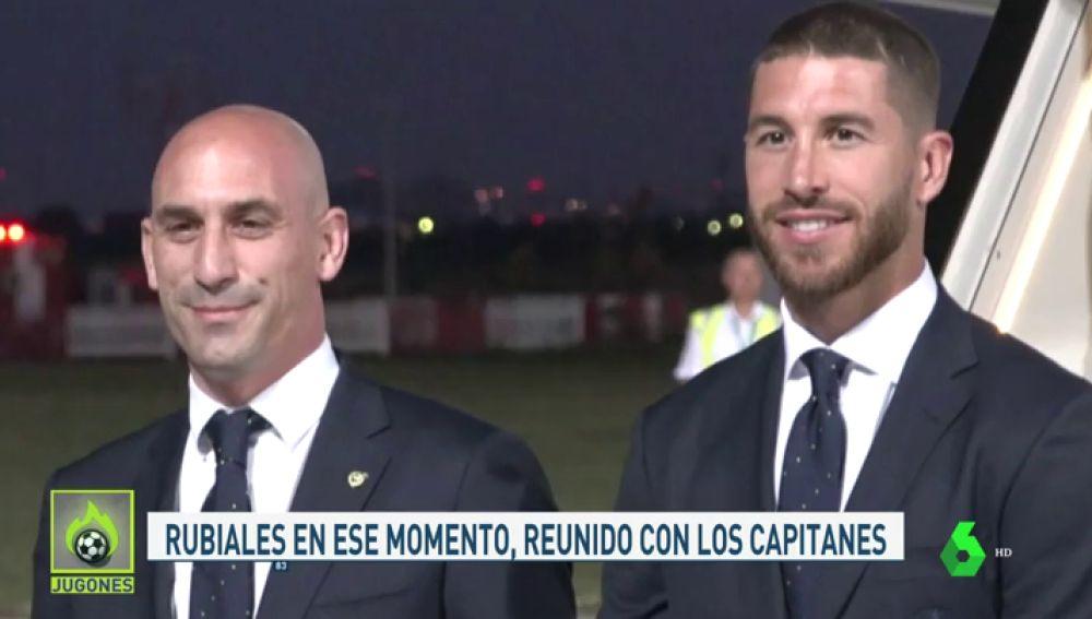 Piqué tuvo que separar a Sergio Ramos y Rubiales