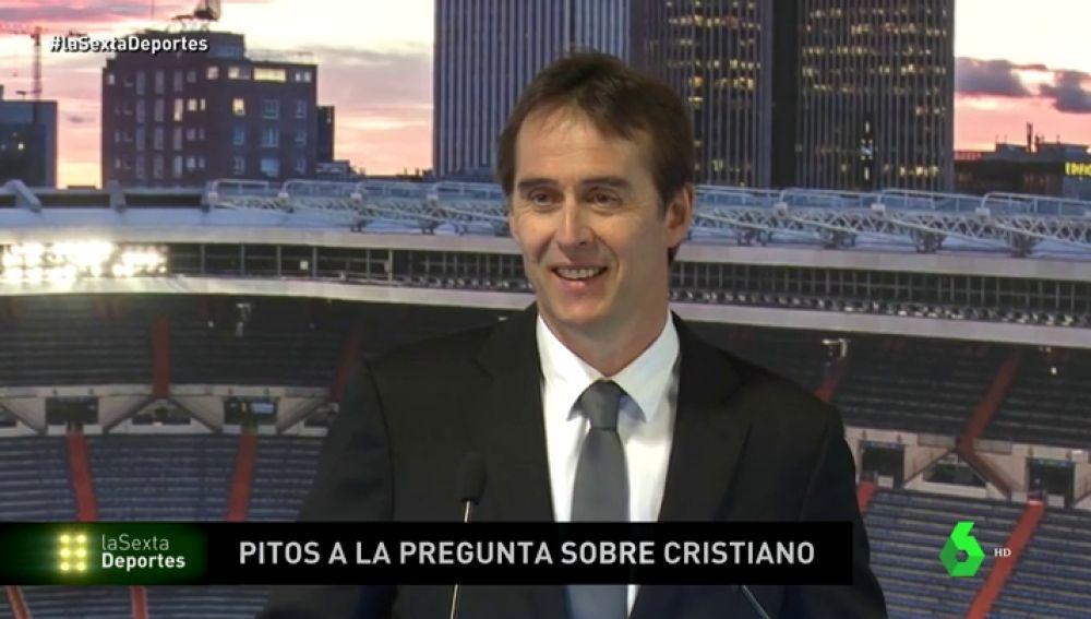 Pitos a la pregunta de un periodista sobre Cristiano Ronaldo en la presentación de Lopetegui