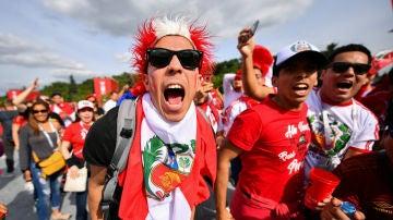 Aficionados de Perú, en el Mundial