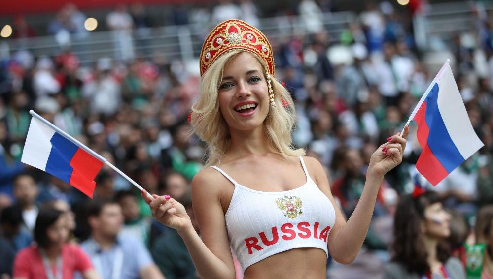 Una aficionada rusa, durante el Mundial
